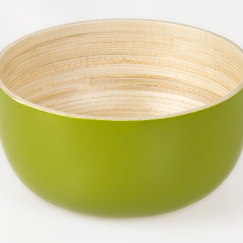 Coiled bamboo round serving bowls, kiwi