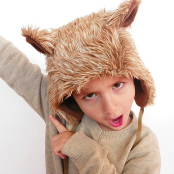 Fuzzy Wuzzy Brown Bear Faux Fur and Fleece Hood Hat
