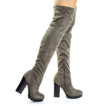 Gaby14s Taupe F-Suede by Bamboo, Taupe Suede OTK Over Knee Thigh High Pull-On Slouch Suede Boots w Threaded Lug Sole