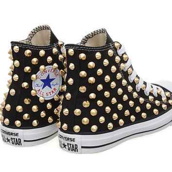 Studded Converse, Converse Hi Top with Gold Cone Studs by CUSTOMDUO on ETSY