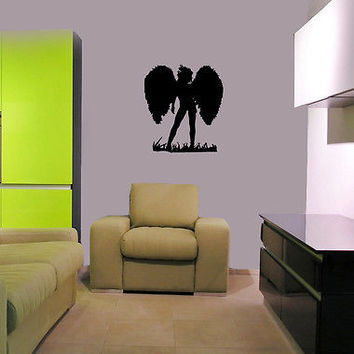 Wall Mural Vinyl Decal Sticker Design Interior silhouette of girl angel OS497
