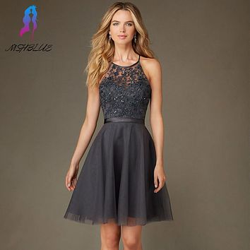 Simple Gray Lace Short Cocktail Dresses Evening Party Gown Halter Tulle Beads Back Cross Mini Women Dress