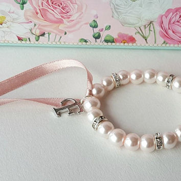 Dusty pink bracelet, flower girl personalized gift, rhinestone and pearl, bridesmaid bracelet, pink ribbon, wedding gift