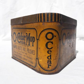 Vintage Tin, O-Cedar Mop Polish Triangle Tin; Industrial Organizing Container Tin
