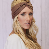 Mocha Brown Twist Turband Headband Slip On Style Yoga Headband Woman's Hair Band Head Band