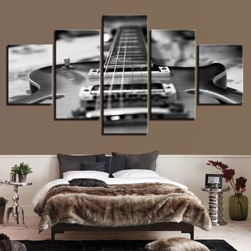 HD Prints Home Decor Living Room Canvas Pictures 5 Pieces Guitar Paintings Wall Art Vintage Black White Music Posters Framework