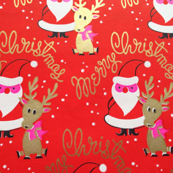 Vintage Christmas Gift Wrapping Paper - Merry Christmas Santa and Reindeer - Pink and Metallic Gold - 1 Unused Full Sheet Gift Wrap