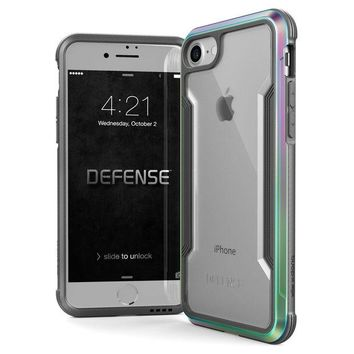LMFMS6 iPhone 8 & iPhone 7 Case, X-Doria Defense Shield Series - Military Grade Drop Tested, Anodized Aluminum, TPU, and Polycarbonate Protective Case for Apple iPhone 8 & 7, [Iridescent]