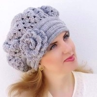Crochet beret, warm hat, shunky,  light gray, grey, flower