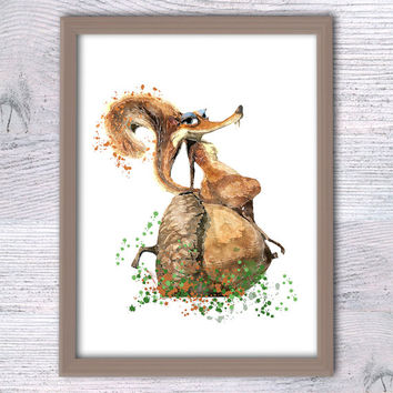 Ice Age print, Scratte, Nursery decor, cartoon poster, Disney nursery, Funny wall art, Ice age wall decor, Baby gift, Home decor V130