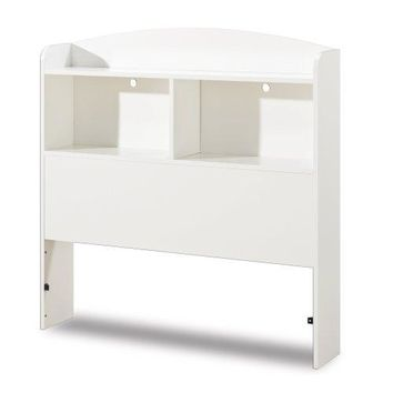Twin size Modern Arched Top Bookcase Headboard in White