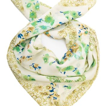 Caterina-Flowers Silk Scarf-Lime