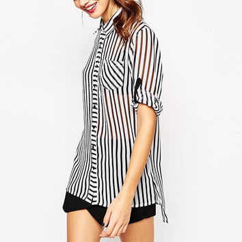 Vertical Striped Sleeve Chiffon Blouse