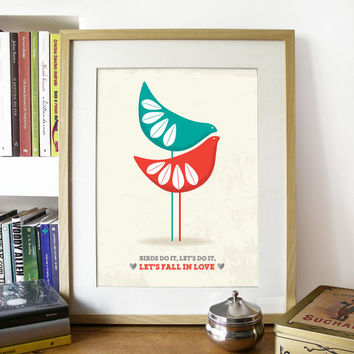 Cathrine Holm inspired Birds Illustration - Mid Century design Art Print Poster in Red and Teal - A3 size poster - vintage poster print