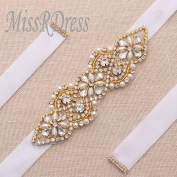 MissRDress Dazzling Wedding Belt Gold Crystal Bridal Sash Belt Rhinestones Ribbon Bridal Mother Of The Bridal Dresses YS874