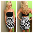 Black & White Strapless Chevron Open Back Dress