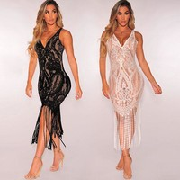 Sexy Perspective Blouse Hollow Lace Tassel Dress