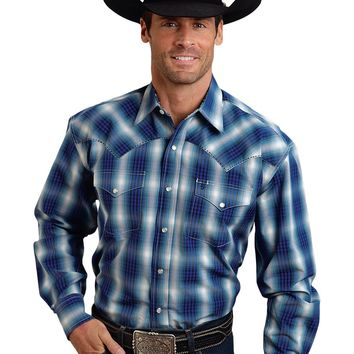Stetson Two Pocket Snap Front Ombre Plaid Shirt
