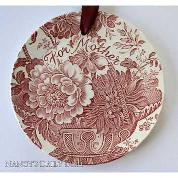 Mother's Day Red Floral Toile Charlotte Transferware Plaque English Ironstone For Mother  Victorian Garden Decor - Roses