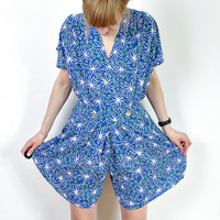 SUMMER SALE 50% off - 80s Summer Blue Romper /  Flower Boxy Playsuit Shorts / Grunge Style / Size L-XL