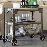 Vintage Industrial Rolling Cart With Wire Basket Storage - 36""