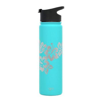 Premium Stainless Steel Water Bottle, Hibiscus Design, Extra Lid, 22oz (Caribbean Teal)