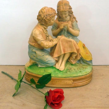 Vintage Large Casper Hennecke & Co. First Love Statue - Large Chalkware Statue Boy and Girl in Pastel Colors - Shabby Chic Home Decor Statue