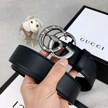 GUCCI Classic Trending Men Women Smooth Snake Buckle Belt Leather Belt Black