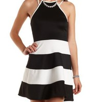 Striped Racer Front Skater Dress by Charlotte Russe
