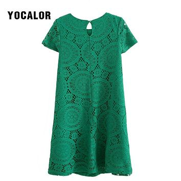 YOCALOR Hollow Out Lace Short Sleeve Vintage Women Summer Slim Loose Dress Big Plus Size 5XL 6xl For Fat Casual Green Dresses