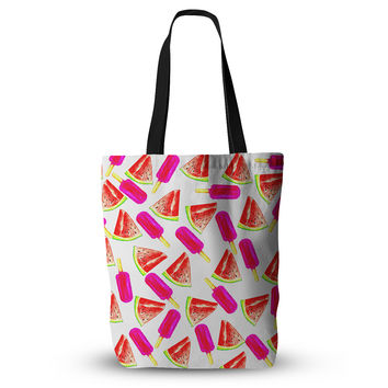 "Sreetama Ray ""Strawberry & Watermelon"" Pink Red Everything Tote Bag"