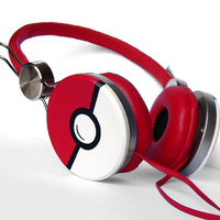 Poke-phones Headphones earphones white red hand painted