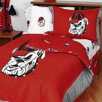 NCAA Georgia Bulldogs Collegiate 7pc Queen Bedding Set: Full