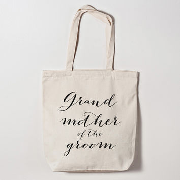 Grandmother of the Groom Calligraphy Tote Bag