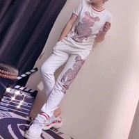 """Louis Vutitton x Supreme"" Women Casual Fashion Hot Fix Rhinestone Robot Bear Pattern Short Sleeve Trousers Set Two-Piece Sportswear"
