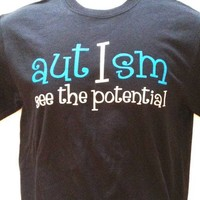 Men's Short Sleeve Autism Awareness T-Shirt [Black] Autism I See the Potential