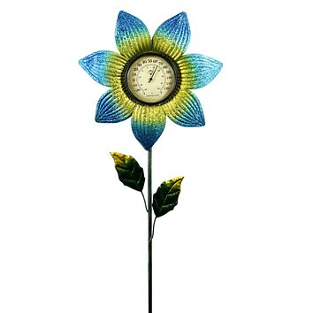 Home & Garden THERMOMETER STAKE BLUE Metal Garden Accent 11922.