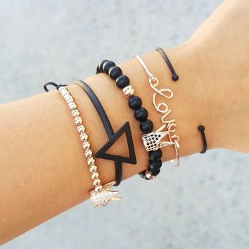Geometric Crown Bracelet Stack