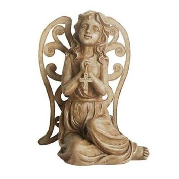 "14.5"" Inspirational Sitting Angel with Cross Outdoor Patio Garden Statue"