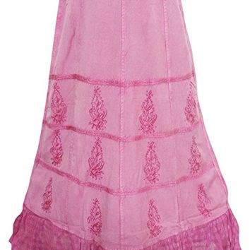 Women's Long Maxi Skirt Boho Pink Embroidered Peasant Skirts L