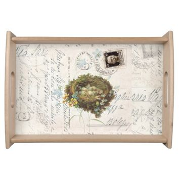Vintage Bird Nest Italian Postcard Tray Food Trays