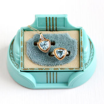 Estate 10k Yellow Gold Sky Blue Topaz & Diamond Ring , Necklace Set - Size 7 Genuine Aqua Blue Gem December Birthstone Pendant Fine Jewelry
