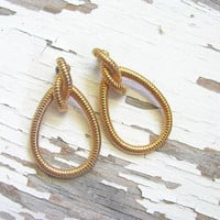 vintage chunky gold earrings / post earrings