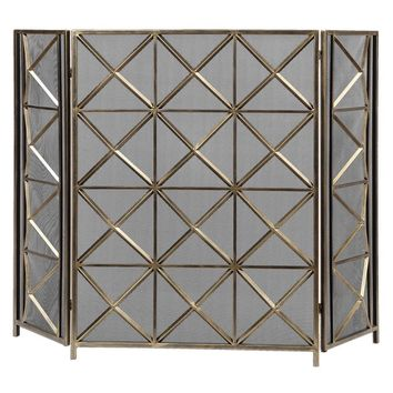 Akiva Champagne Fireplace Screen By Uttermost