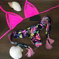 Push Up Floral Two Pieces Comfortable Swimsuits Bikini Set