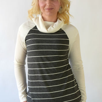 Jordan Striped Cowl Neck Top - Charcoal
