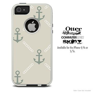 The Tan Vintage Anchor Skin For The iPhone 4-4s or 5-5s Otterbox Commuter Case
