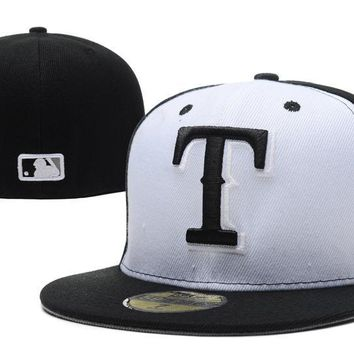 ESBON Texas Rangers New Era 59FIFTY MLB Hat Black-White