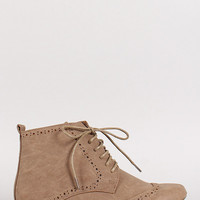 Rosy-1 Perforated Lace Up Oxford Bootie