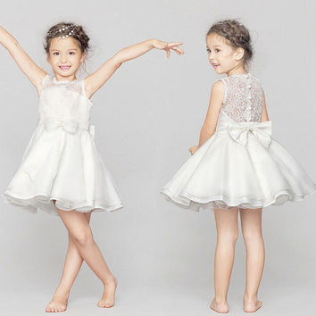 Summer Children Butterfly Lace Princess Dress Wedding Dress Prom Dress [4919698500]